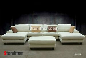 4-Pc Modern European-Design Genuine Leather Sectional Sofa Set S505B