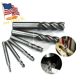 6Pcs Carbide Coated CNC 4 Flute Spiral Bit End Mill Cutter set 1/8