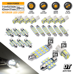 20X White LED Light Interior Package Kit for T10 & 31mm Map Dome  License Plate