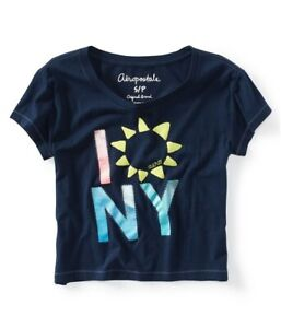 Aeropostale Womens Sunflower Graphic T Shirt Blue X Large $11.14