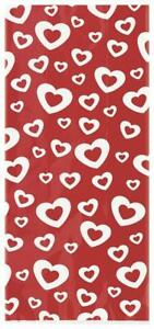Valentines Day Hearts Afire Cello Party Bags with Twist Ties x 20