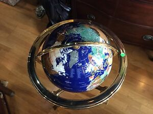 13 in. Gemstone Globe with Gold Colored Ambassador 3-Leg High Stand Caribbean...
