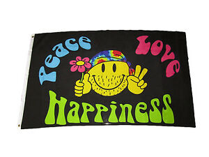 3x5 Peace Love Happiness Smiley Hippie Premium Quality Flag 3'x5' Banner Grommet