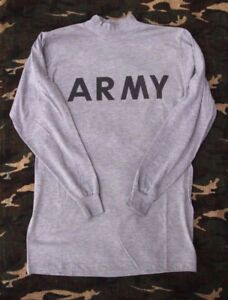 *EXCELLENT COND.* GENUINE US ARMY PT PHYSICAL FITNESS  GRAY LONG SLEEVE T SHIRT