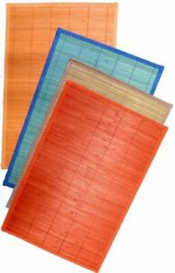 Set of 8 Assorted Bamboo Placemats Assorted Colors Hand Sewn appx 17.5 x 11.75
