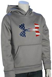 Under Armour Boy's Big Flag Logo Pullover Hoody - True Grey Heather - New