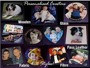 PERSONALISED ANY PHOTO TEXT COASTER MOTHER#x27;S DAY BIRTHDAY XMAS GIFT 11 Styles GBP 3.25