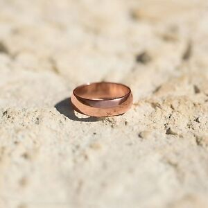 Copper Ring Band 6mm Solid Simple Nice Plain Man Woman Fashion Bridal Sizes 6-12