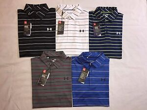 NWT UNDER ARMOUR MENS COLD BLACK LOOSE FIT STRIPES POLO SHIRTS - MSRP -$69.99