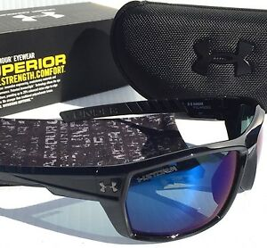 NEW* Under Armour RANGER Black w Blue POLARIZED Storm Lens Sunglass! $160