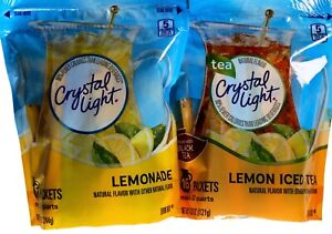 Crystal Light Lemon Iced Tea or Lemonade Natural Flavor, 16 Pitcher Packs Each