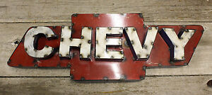 Recycled Tin Metal CHEVY Bow Tie Sign Gas Oil Garage Man Cave Home Decor $25.00