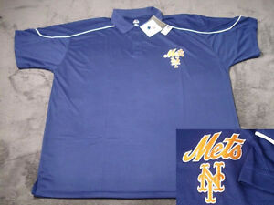 New York Mets MLB Blue Majestic Dri Fit Polyester Golf Polo Shirt BIG