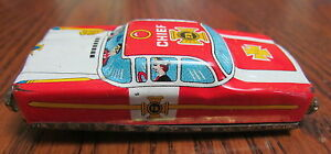 vintage tin litho fire chief toy car nomura