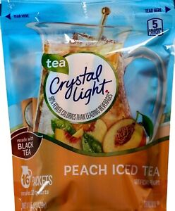 Crystal Light Peach Iced Tea Drink Mix USA 16 Pitcher Packets 32 Quarts $11.58