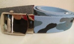 Blue camo camouflage belt with military style buckle US Shipper