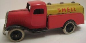 colorful antique tin toy shell gasoline