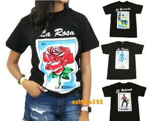 Mexican Loteria Unisex Black T Shirt Funny Small to 2XL