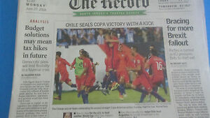 CHILE WINS WITH A KICK-COPA AMERICA CENTENARIO-100 FINALS CHAMPION N.J. NEWSPAPR