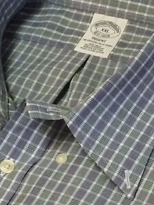 BROOKS BROTHERS Mens BUTTON DOWN Dress Sport Shirt Blue Green White Check XXL