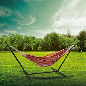Red Portable Outdoor Double Hammock Space Saving Steel Stand +Free Carrying Case