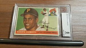INCREDIBLE! 1955 Topps #164 Roberto Clemente Rookie Card RC - BVG 8 NM-MT NMMT
