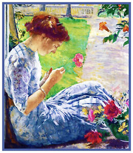 Woman Sewing on Porch by Edmund Tarbell Counted Cross Stitch Chart Pattern $9.74