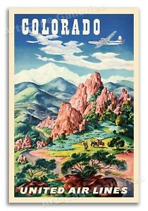 1950s Colorado Garden of the Gods Vintage Style Travel Poster 20x30