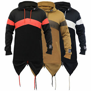 Mens Long Line Sweatshirts Soul Star Hooded Top Fish Tail PU Zip Casul Winter