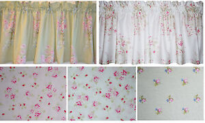 New chic COTTAGE valance PINK ROSE BLOSSOM on WHITE GREEN PINK