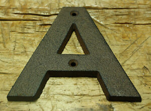 Cast Iron Industrial LETTER A Sign Rustic Brown 5quot; tall Alphabet