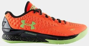 New DS UA Under Armour Steph Curry One Atomic Orange Black SC 30 size 13 Low MVP