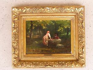 ITALIAN VICTORIAN PAINTING OF A FLIRTING COUPLE BY GUIGLIELMO INNOCENTI LISTED $1500.00