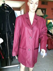 Atlantic Beach leather jacket cranberry colored car coat ladies size L