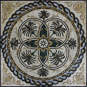 Ropes Around Celtic Flower Abstract Shell Design Marble Mosaic GEO2467