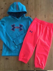 Girl's Under Armour LOT Hoodie And Crop Sweat Pants YLG YMD Large EUC!