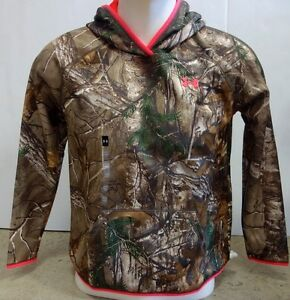 Under Armour Girls Icon Caliber Hoodie-SM-Pink ChromaRealtree Xtra-#1279573-NWT