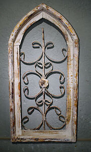 Wooden Antique Style Church WINDOW Wrought Iron Primitive Wood Rustic Gothic $14.99