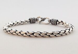 MEN'S STERLING SILVER 925 BALI BRAID SNAKE WEAVE 4MM CHAIN LINK JEWELRY BRACELET