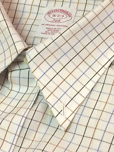 BROOKS BROTHERS Mens BUTTON DOWN Dress Sport Shirt Brown Blue Beige  Check 16 33