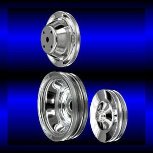Chrome small block Chevy pulley set 3 pulleys long pump for alt ac keyway p s $100.99