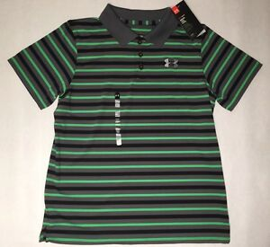 New Under Armour Golf Boy Polo Shirt Top Youth Xlarge $45Black Gray Green!