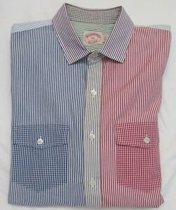 Brooks Brothers Color Block Stripe & Gingham Check Pocket Sport Shirt Size XL