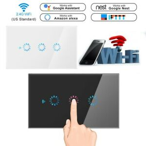 1 2 3 Gang WiFi Smart Home Touch Light Wall Switch Panel for Alexa Google APP US