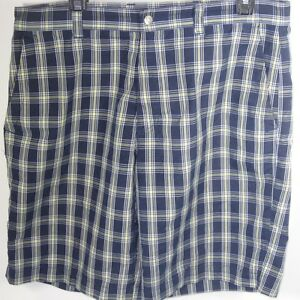 Callaway Golf Shorts Size 34 Blue & Yellow Plaid 100% Polyester Flat Front