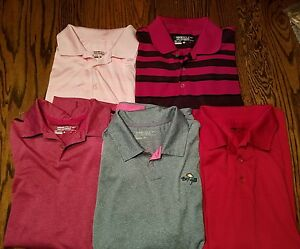 Lot of 5 Men's NIKE GOLF Dri Fit Polo Shirt Large L Mint Condition