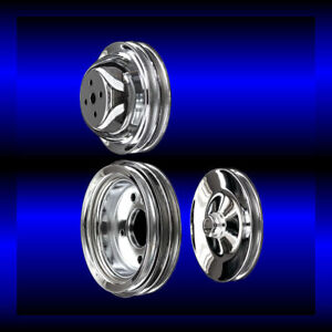 Chrome big block Chevy pulley set 3 pulleys short pump BBC 396 427 454 $110.99