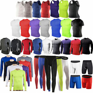 Mens Compression Base Layer Under Shirt Tee Tight Athletic Gym Vest Pant Shorts