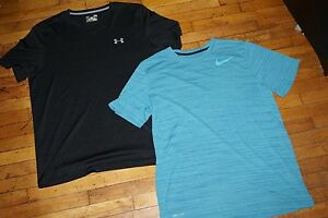 2X Men's UA Under Armour loose v-neck and NIKE Dry Fit Athletic T-Shirts Large L