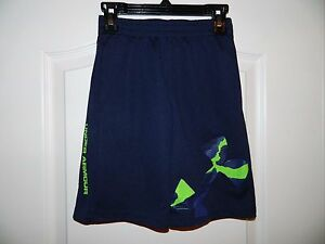 Boy's Under Armour Navy wLime Green Logo Athletic Shorts Size 6